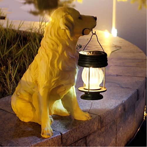 AIBAB Gartenlicht Solarlicht Im Freien LED-Landschaftslicht Simulation Tier Hund Ornamente Harzskulptur Wasserdicht 36 × 28 cm