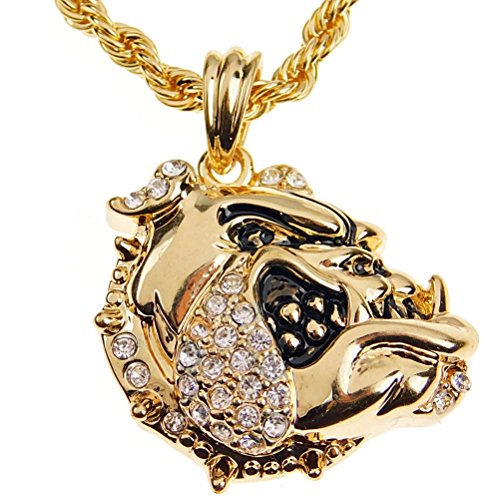 Mens Bulldog Rope Chain Bling Iced Dog Pendant Gold Finish Hip Hop Necklace 24' Inch