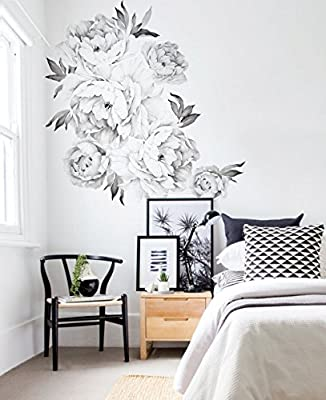 Simple Shapes Peony Flowers Wall Sticker - by
