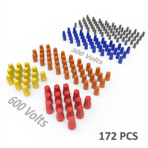 Electrical Wire Connectors Screw Terminals, Wire Nuts W/Spring Insert, Twist Nuts, Caps Connection Assortment Set 172PCS