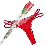 Ropa sexi erotica talla S M elegante braga tanga rosa flor pareja. Regalos originales para mujer cumpleaños san valentin baratos aniversario divertido