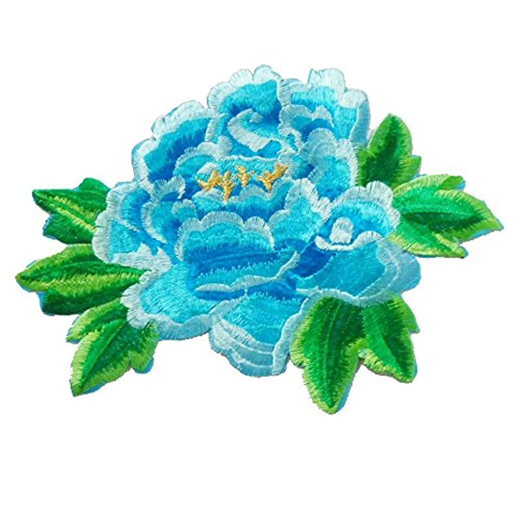 1pcs Embroidery Iron-on Patches Rose Flower Applique Sew On Sticker Trimming Sewing Accessories For DIY Craft(8.25.9inch) (Blue)