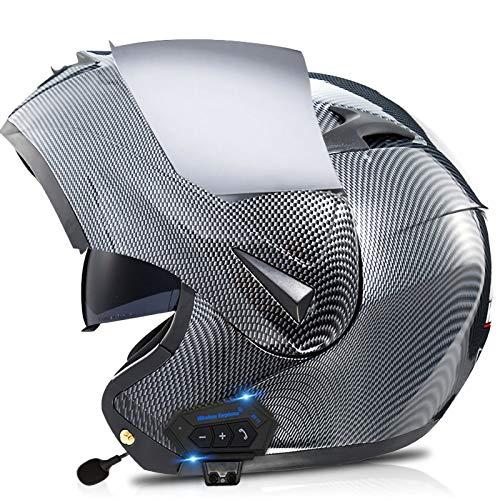 Bluetooth Integrado Casco,Lente Dual HD Resistente Viento Polvo Micrófono Incorporado Certificación ECE Apto para Motocicletas Integrado Modular Casco C,S55~56CM