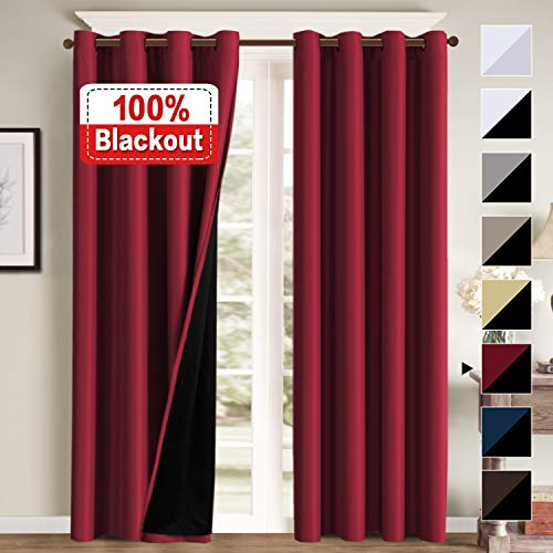 Double Layer 100% Blackout Curtains for Bedroom 84 Inches...