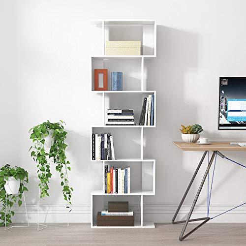 Libreria Moderna Scaffale in Legno Autoportante con Prevenire Inclinato Accessori Design con 6 Ripiani 60 X 24 X 190 cm Salone Studio Camera Bianco (6 strati bianchi)