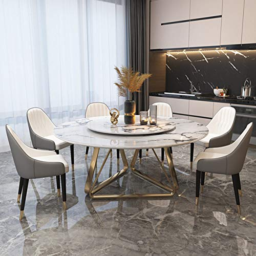 Eettafel LKU Lichte luxe marmeren ronde Scandinavische eettafel, moderne minimalistische eettafel met draaitafel, 1,5 m0,7 m draaitafel