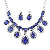 YAZILIND Joyería de la Boda Mujeres lágrima cristalina Real Pendiente Azul Collar Fornido fijó para la Dama de Honor