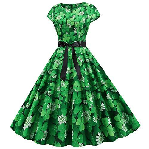 Womens Short Sleeve Retro Dress Big Swing Skirt Cocktail Dress Cap Sleeve Party Dress A-line Dress Summer Stretchy Fancy Party Dress St. Patrick's Day O-Neck Printed Big Swing Dress Black