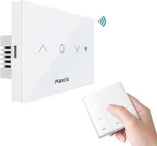 Maxcio Interruttore Tapparelle Avvolgibile Alexa, Interruttore Smart per Tenda con Telecomando RF, Interruttore WiFi Controllato dall'APP Smart Life, Compatibile con Echo/Google Home, Funzione Timer