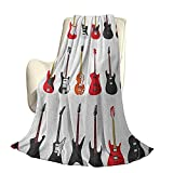 Guitarra Fluffy Plush Soft Comfortable Warm BlanketMusical Instrumentos Set Patrón con Varios Bajos acústicos Hacer música Aire Acondicionado de Lujo Funda nórdica W60 x L50 Inch Vermilion