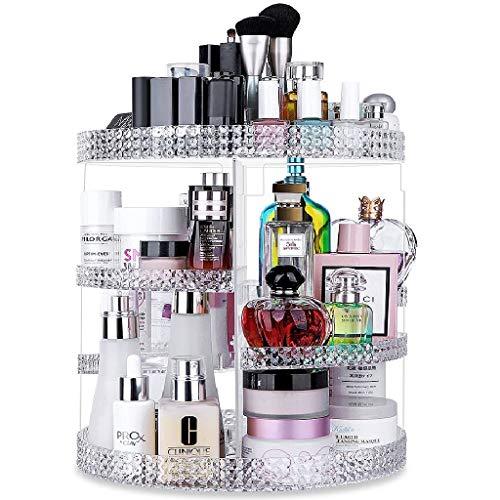 Awenia 360° drehbar Make up aufbewahrung Kosmetik Organizer aus Acryl 7 Verstellbare Ebenen Multifunktionale Schminkaufbewahrung Box Passend für Dresser, Schlafzimmer, Badezimmer (klar)