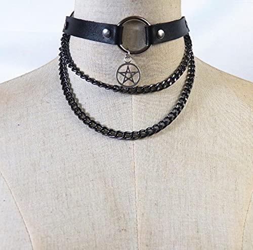 SONGK Moda Punk Rock gótico Collar Sexy Cuero de la PU corazón Redondo Pico Collar Gargantilla Collar Accesorios para el Cuerpo