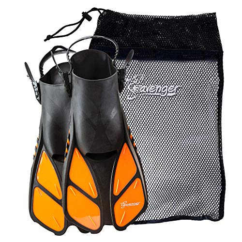 Seavenger Torpedo Swim Fins | Travel Size | Snorkeling Flippers with Mesh Bag for Women, Men and Kids (Orange, XS/XXS)