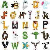 Letras 26 parches del alfabeto A-Z en forma de animal, bordado para planchar o coser en parches para vaqueros, chaquetas, mochilas, ropa
