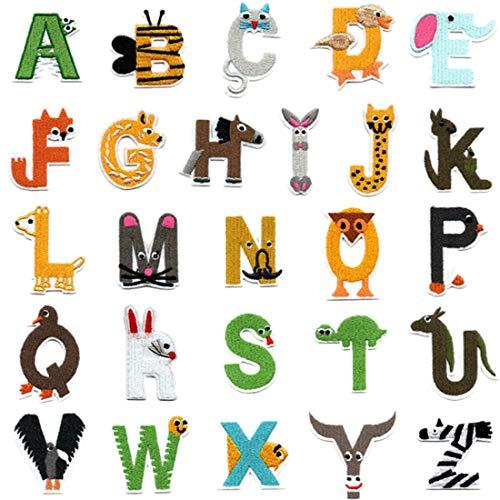 26 parches de letras del alfabeto A-Z, con forma de animal, bordados, para planchar o coser, para vaqueros, chaquetas, mochilas, ropa