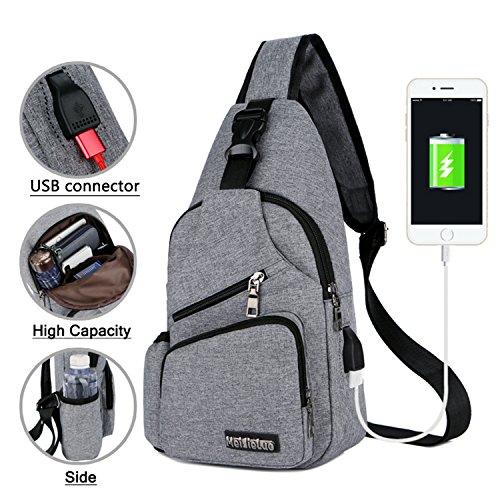 Sling bag brust rucksack mit USB ladeanschluss für casual umhängetasche für männer und frauen tasche leinwand tasche sport outdoor gym reise wandern rucksack (Standard, GRAY)