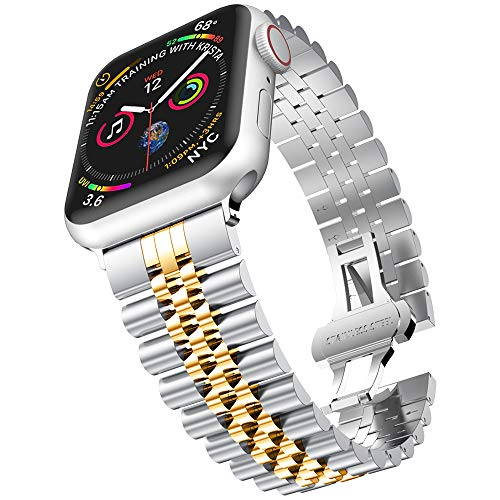 baozai Compatible with Apple Watch Band Series 5 44mm 42mm, Stainless Steel iWatch Band with Butterfly Folding Clasp for iWatch Band Series 5/4/3/2/1 Men (Silver/Gold)