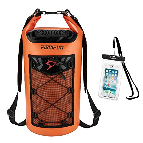 Piscifun Waterproof Dry Bag Backpack 20L Floating Dry Backpack with Waterproof Phone Case for Water Sports – Fishing Boating Kayaking Surfing Rafting Camping Gifts for Men and Women Orange