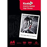 KOALA Papel fotográfico de Brillante, A4, 100 hojas, 240 g/m², para impresora de inyección de tinta Canon HP Epson