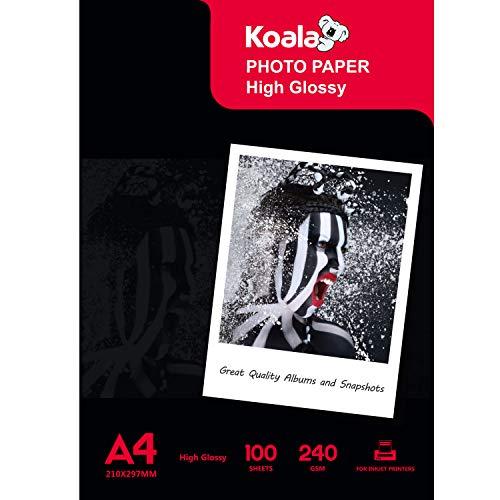 KOALA Inkjet Photo Paper A4 Glossy 100 Sheets 240 GSM for Canon Hp Epson Inkjet Printer