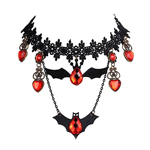Youniker Choker Necklace for Women Gothic Black Lace Necklace for Halloween Christmas Party Punk Wedding Dress Up & Pretend Play Vintage Lolita Choker Bat Pendant Vampire Chain
