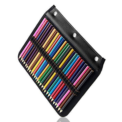 YOUSHARES 54 ranuras lápiz funda – cartón diseñado lápiz página Compatible con 216 ranuras estuche para acuarela lápiz, bolígrafo de Gel y brochas de maquillaje (negro)