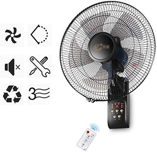 Byakns Muro de Negocios con Ventilador, Control Remoto |Temporizador |17 Pulgadas |Negro |Silencio |50W |Reducción de Ruido |de Suministro de Aire de Gran Angular (Color : Remote Control)