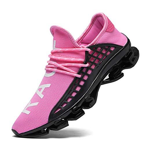 CAGAYA Sportschuhe Herren Laufschuhe Sneaker Mesh Atmungsaktive Sport Damen Turnschuhe Freizeitschuhe Schuhe größe 36-48 (39 EU, Rosa)