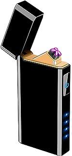 USB 充電式 電子 ライター ダブルアーク オイル不要 ガス不要 防風 電池残量表示LED搭載 自動放電オフ 繰り返し使える キャンプ BBQ 火起こし アウトドア