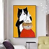 DIY Pintura por números, DIY Pintura al óleo Digital sobre Lienzo Regalo -Champú gato, gato negro, animal 40x50cm Sin marco