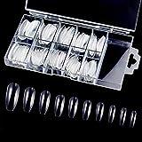 Ealicere 120 Pièces Ballerina False Nails Plastic Fake Nail Tips, Faux Ongles Cercueil Transparents en Acrylique,Faux ongles artificiels avec boîte transparente
