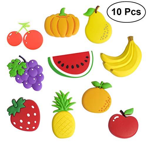 Bestonzon - Calamite da frigo a forma di frutta, per ottimi per bambini, adatti a frigoriferi e lavagne, confezione da 10