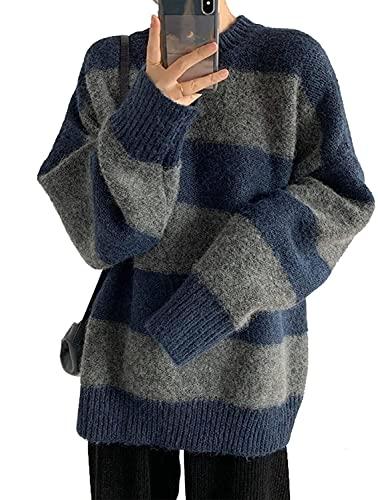 Suéter a Rayas de Las Mujeres suéter de Punto de Manga Larga de Manga Larga Pulsera de Puente de Gran tamaño (Color : Blue, Size : Einheitsgröße)