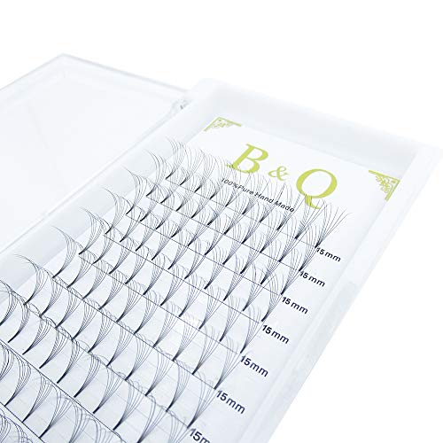 Premade Volume Fans Eyelash Extensions 6D 12 Rows/Tray Short Stem Russian Volumes Lashes Extensions Fans 0.07/0.10 mm C/D Curl 9-15mm Individual Cluster Eyelash Extensions (6D-D curl-0.07mm, 15mm)