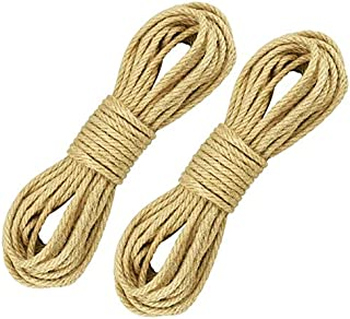 KBNIAN 100% natürliche Seile 6mm Dicke Hanfseil und JuteSeil Schärpe,Seil Kordel, Camping Seil, Garten, Mehrzweck Utility Sisal Seil DIY Handwerk Seil 30m