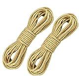 KBNIAN Cuerda de Yute, Cuerda de Cáñamo Cuerda de Yute 6mm de Grosor Soga Cuerda Cuerda Multifuncional Natural para Manualidades DIY Decoración del Hogar Jardines Mascotas Atar Cosas (30m, 2 Rollos)