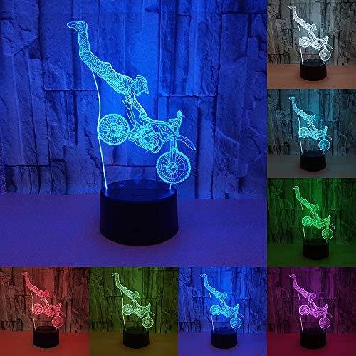 RUMOCOVO® Motocross Motocicleta 3D Lámpara De Mesa LED Lámpara 7 Colores LED Luz De Noche Táctil Decoración Lámpara Regalo Hogar Iluminación