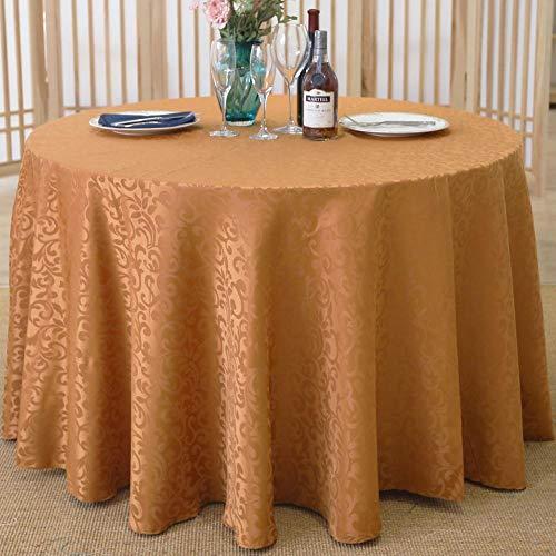 Yinaa Mantel para Mesa de Cocina o Salón Hojas Rectangular Anti Escaldado y Duradero Impermeable Diseño de Comedor Decoración del Hogar Marrón Claro Diámetro del Círculo 240cm
