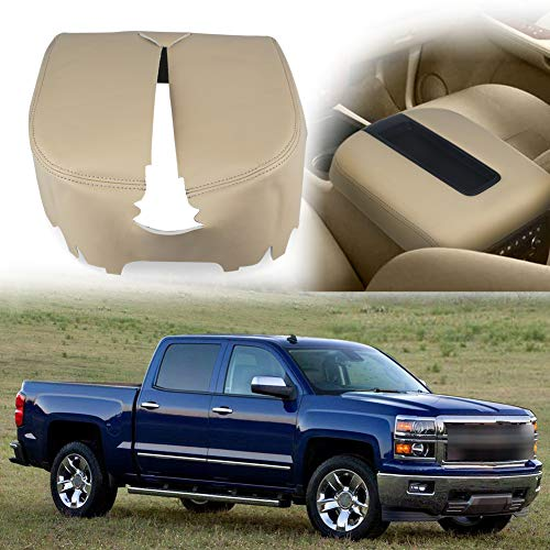VANJING Compatible with Center Console Cover Armrest Cover Chevy GMC Avalanche Silverado Tahoe Suburban Yukon Yukon XL Sierra 2007-2013 (Leather Part Only)