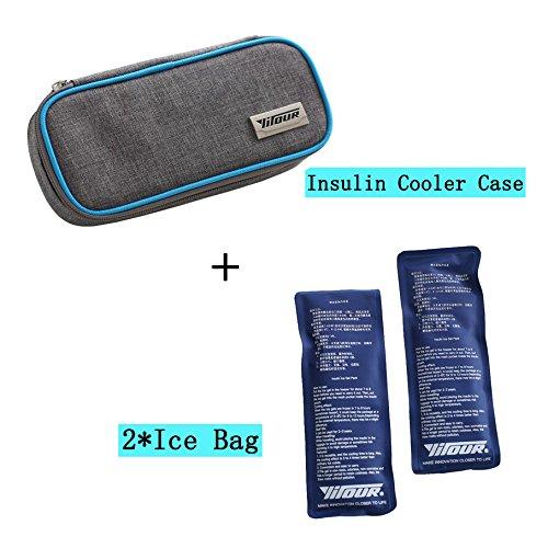 Bolsa térmica de insulina portátil, con aislante y estuche para refrigerador médico de viaje + 2 paquetes de hielo, bolsa de refrigeración médica, organizador diabético de tela Oxford 8.27*3.94*1.77 inches azul: Amazon.es: Hogar