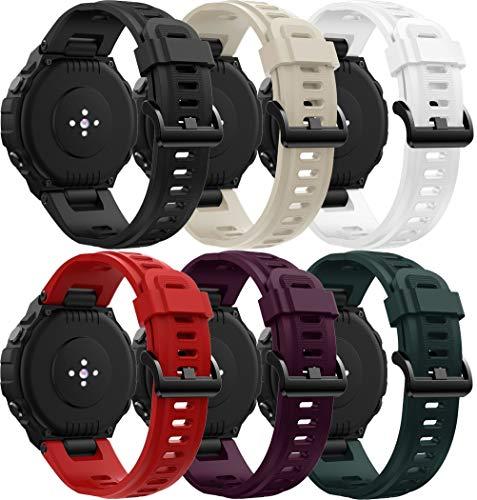 Simpleas Correa de Reloj Compatible con Amazfit T-Rex, Impermeable Reemplazo Correas Reloj Silicona Banda (6PCS H)