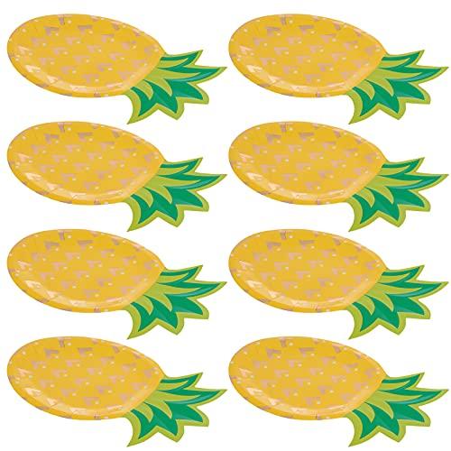 jojofuny 8 Unidades de Platos de Papel de Piña Platos Desechables de Papel Vajilla para Fiestas Hawaianas con Temática Hawaiana Cumpleaños Boda Barbacoa Suministros para Fiestas