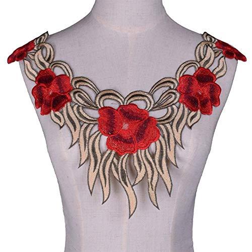 Rode bloem Lace stof Trim hals kraag borduurwerk singelband voor jurk afsnijdsels Scrapbooking