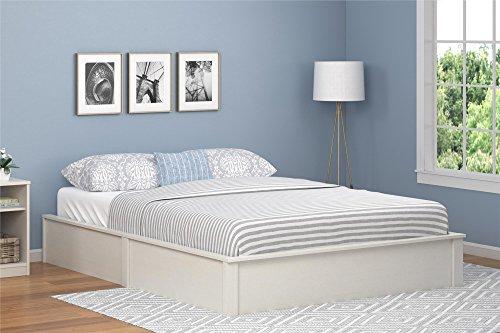 Ameriwood Home Queen Platform Bed Frame, Vintage White