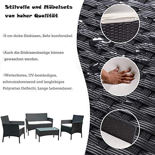 BMOT Gartenlounge Set, Balkonmöbel Set für 4 Personen, Schwarz, 7 TLG, mit Tisch, Sitzkissen waschbar, Kunststoff, Flache Rattanoptik, für Balkon oder Terrasse - 4