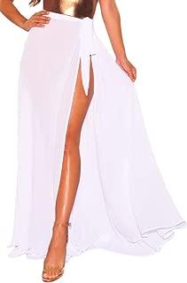 LittleLittleSky Womens Sexy Greek Goddess Spaghetti Strap Sarong Beach Dress Bikini Swimwear Cover-Ups (One Size, White)