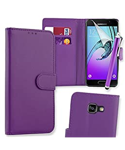 Connect Zone PU Leather Flip Wallet Case Cover Pouch for Samsung Galaxy A3 (2016) with Screen Protector, Polishing Cloth - Purple + Tall Stylus
