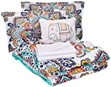 Chic Home CS3426-AN 8 Piece Raypur Reversible Boho-Inspired Print and Contemporary Geometric Patterned Technique Queen Bed in a Bag Comforter Set Aqua