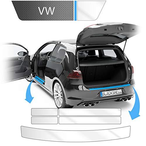 Blackshell® Ladekantenschutz und Einstiegsleisten Folie inkl. Premium Rakel passend für Golf 7 Variant | Typ AU | Bj. 2012-2019 Transparent - passgenaue Lackschutzfolie