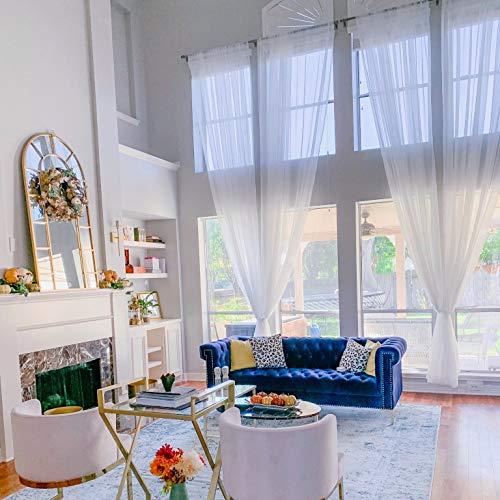 Ikiriska Extra Long Sheer Voile Curtains (2 Panels) for high Ceiling, Custom Made Length 12, 14, 15, 16, 17, 18, 20 24 feet Long, Wide Drapes for 2 Story Living Room (White)